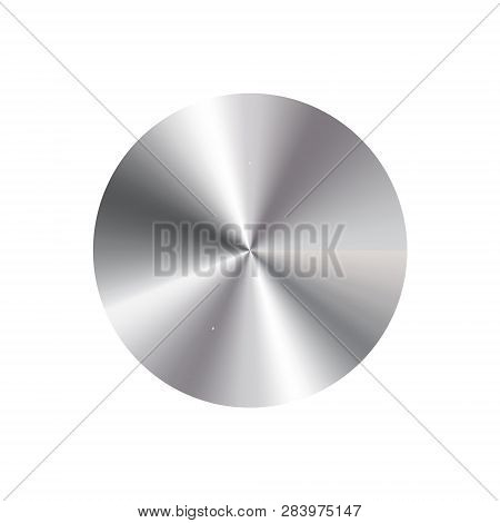 Metallic Shiny Round Discs With Conical Metal Gradients On A Translucent Background.