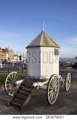 Weymouth, Dorset, Uk - December 26, 2017. A Vintage Changing Hut, Bathing Machine, Used By Swimmers