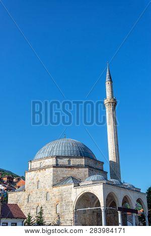 View Of The Magnificent Sinan Pasha Mosque In Historic Prizren, Kosovo