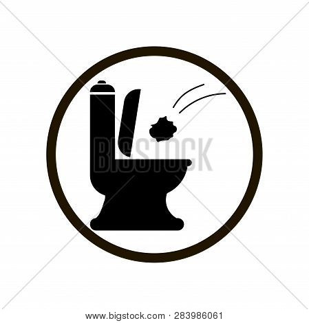 Black Toilet Icon With Throwing Paper Tower Flush Toilet In Circle