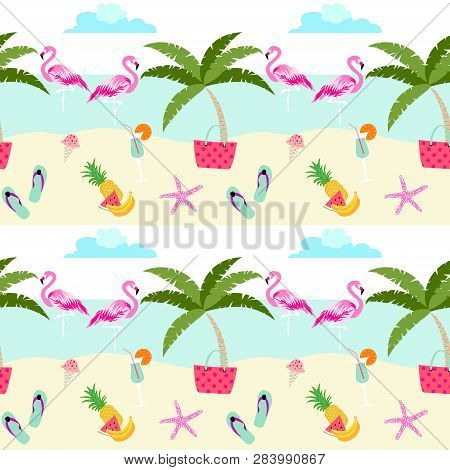 Summer Pattern Design With Cute Flamingos, Beach, Sea, Fruits, Ice Cream And Holiday Symbols. Pastel