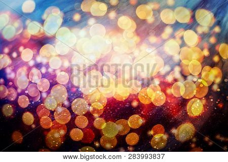 Motion Blur Abstract Background ,de Focused/blur Image Of City At Night.blurred Urban Abstract Traff