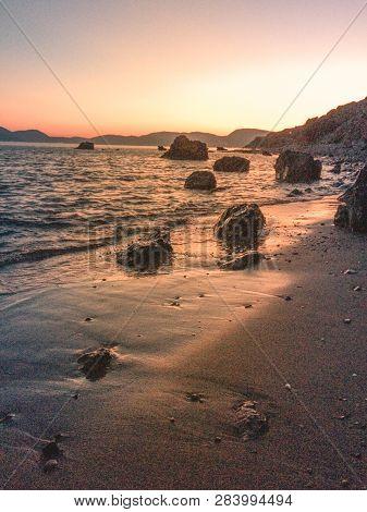 Sunset. Beautiful Sunset  Sea. Gold Sea Sunset. Picture Sea Sunset. Sea Sunset Background. Amazing S