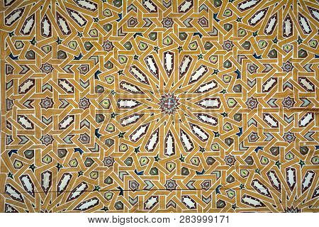Intricate Tile Mosaic On Wall In Marrakesh
