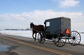 An Amish horse and carriage travel in snow covered Lancaster County,Pennsylvania,USA. poster