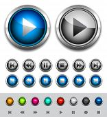 Glossy media buttons. Vector poster