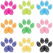 Illustration paw prints dogs in different colors poster