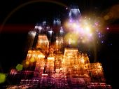 Interplay of abstract lights and skyscraper structures on the subject of modern metropolis and city life poster