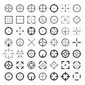 Sniper scope crosshairs icon set. Isolated rifle gun target sights. poster
