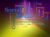 Social Media Related Text Design Element as word cloud poster