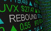 Rebound Stock Market Rally Prices Up Ticker 3d Illustration poster