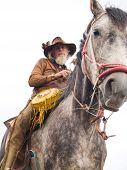 A weathered old cowboy on a horseback - isolated. poster