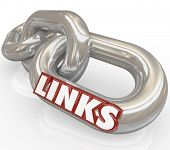 Several metal chains linked together with the word Links illustrating how things are connected in relationships and communication poster