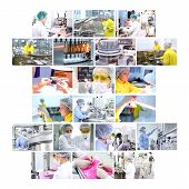 Industrial collage showing workers at work on production of medicines in pharmaceutical factory - vaccines medicines in ampules pills capsules tablets poster