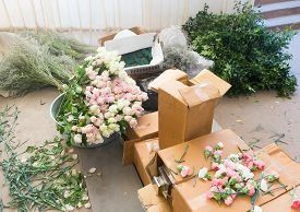 Preparations For Floral Arrangements - Flowers And Foliage In Cardboard Boxes Waiting To Be Used For