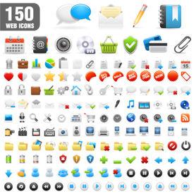 150 icônes détaillées. Illustration vectorielle