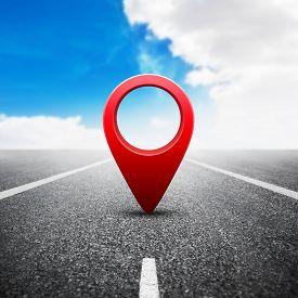 Illustration Of Red Gps Pin On Asphalt Highway Background