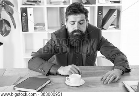 Have No Mood. Need More Energy. Early Morning Drink. Modern Office Life. Mature Businessman At Workp