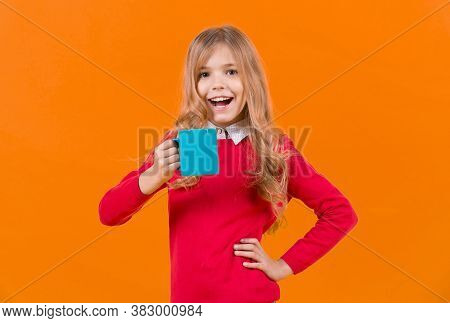 Health And Healthy Drink. Girl With Long Blond Hair In Red Sweater Hold Mug. Tea Or Coffee Break. Th