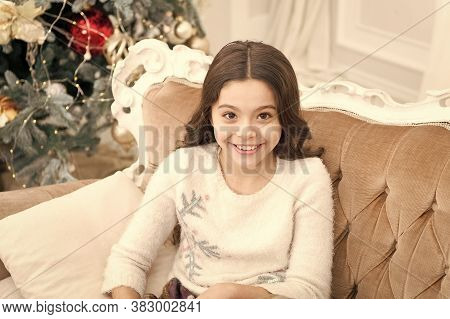 Happy Childhood. Small Kid. Kid Sit Sofa Dreaming About Christmas Present. Winter Dream Concept. Chr