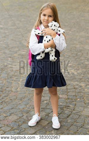 Learning Starts With Playing. Little Child Hold Toy Dog Outdoors. Pretend Play. Back To School Essen