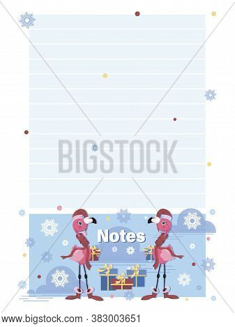 Notes. Pink Flamingo Santa Claus. Cartoon Character With Gifts On A Winter Background. Template Desi