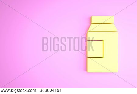 Yellow Paper Package For Milk Icon Isolated On Pink Background. Milk Packet Sign. Minimalism Concept