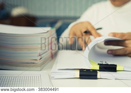 Auditor Businesswoman Checking Unfinished Document Legal Prepare Paperwork Or Report For Analysis In