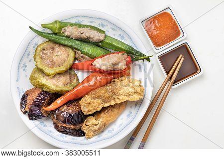 Variety Of Yong Tau Fu Or Stuffed Tofu, Popular Chinese Food In Malaysia