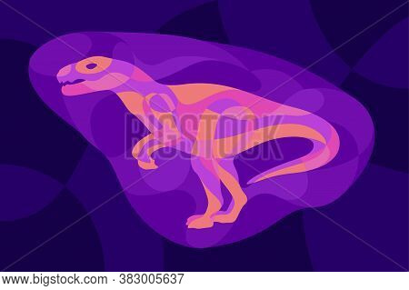 Beautiful Colorful Illustration With Shiny Neon Colored Raptor Silhouette On The Dark Violet Backgro