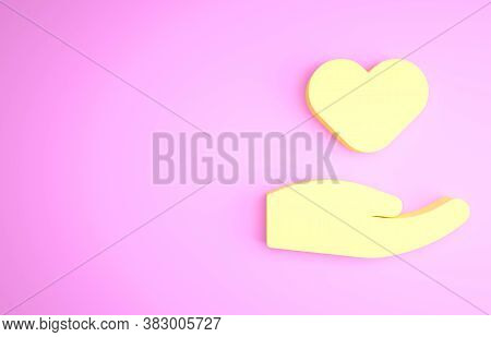 Yellow Heart In Hand Icon Isolated On Pink Background. Hand Giving Love Symbol. Valentines Day Symbo