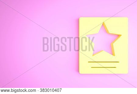 Yellow Hollywood Walk Of Fame Star On Celebrity Boulevard Icon Isolated On Pink Background. Famous S