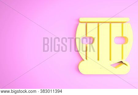 Yellow Indian Musical Instrument Tabla Icon Isolated On Pink Background. Minimalism Concept. 3d Illu