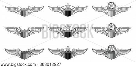 U.s. Air Force Pilot Wings- Vector Pilot Badge Insignia Is An Illustration That Includes The Basic,