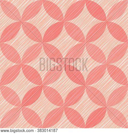 Interlacing Circles Parts Artistic Seamless Vector Pattern. Guatrefoil Flower Red Diamond Lattice En