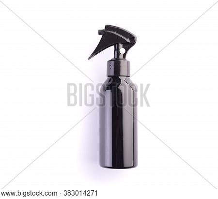 Spray Bottle Isolated On White Background. Black Plastic Container For Hair Dressing Or Cosmetics. G