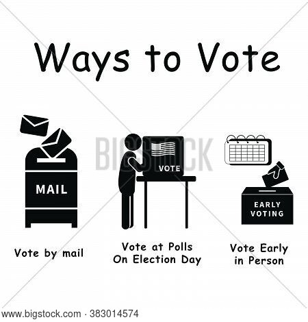 Three Ways To Vote, Pictogram Depicting 3 Ways Voters Can Vote For Election Voting. By Mail, In Pers