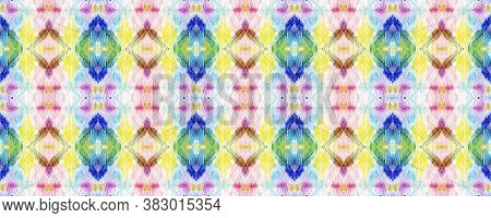 Tie Dye Texture. Asian Backdrop.  Red, Green, Blue And Pink Textile Print. Colorful Natural Ethnic I