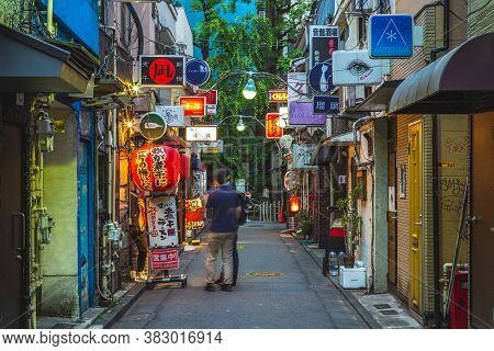 June 11, 2019: Night Scene Of Shinjuku Golden Gai In Tokyo, Japan, There Are Over 200 Tiny Shanty-st