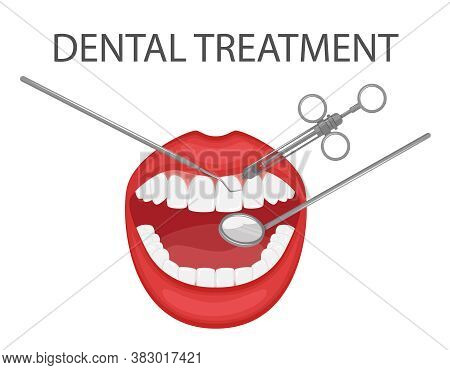 Dental Examination And Treatment Of Teeth With A Mirror And Tools. Professional Preventive Dental Ap
