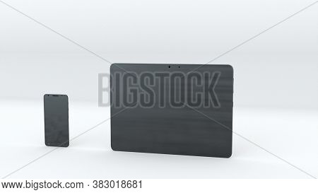 Tablet And Smartphone With Green Screen, Computer Generated. Touchscreen Devices, 3d Rendering. Comp