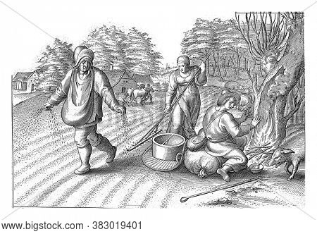 Sowing in the fields, A man sprinkles his field with seed. A woman rakes the seeds into the ground. Another man warms himself on a fire under a tree, vintage engraving.