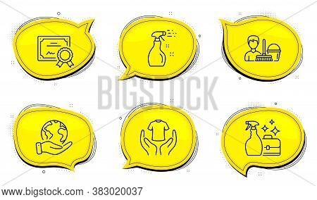 Hold T-shirt Sign. Diploma Certificate, Save Planet Chat Bubbles. Cleaning Service, Cleanser Spray A