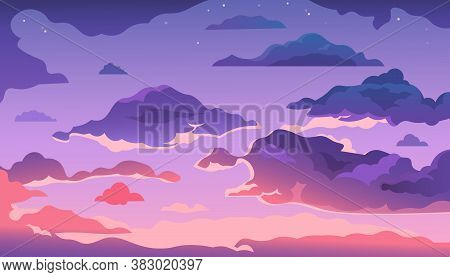 Cartoon Evening Sky. Sunset Or Morning Landscape With Clouds And Gradient Sky, Colorful Heaven Skies