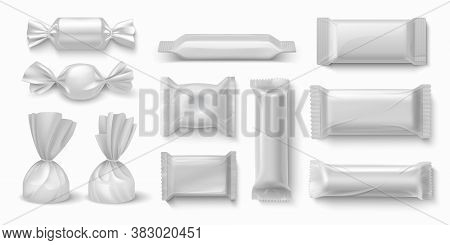 Candies Package. Realistic Sweet Food Packaging Blank White Mockups For Branding Design. Vector 3d I