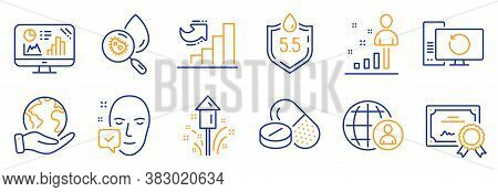 Set Of Science Icons, Such As Ph Neutral, Fireworks. Certificate, Save Planet. Face Accepted, Recove