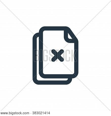 delete selection icon isolated on white background from file and folder collection. delete selection