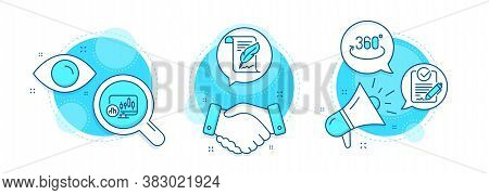 Feather, Rfp And Candlestick Chart Line Icons Set. Handshake Deal, Research And Promotion Complex Ic