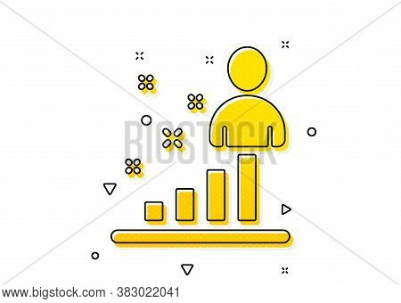 Business Management Sign. Stats Icon. Best Employee Symbol. Yellow Circles Pattern. Classic Stats Ic