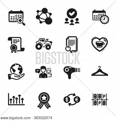 Set Of Business Icons, Such As Currency Exchange, People Talking. Certificate, Approved Group, Save